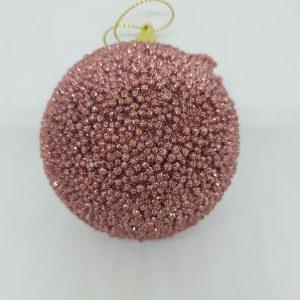 Boule rose pailletée