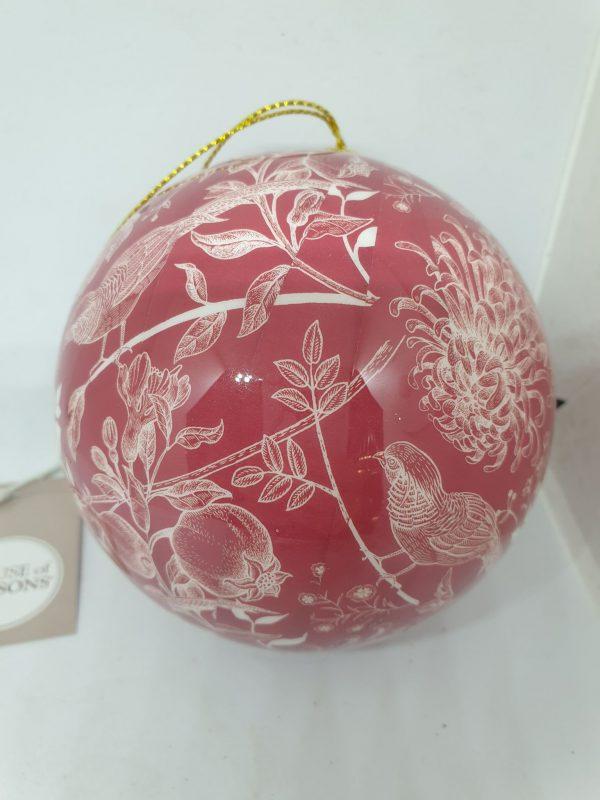 boule rouge à motif floral blanc noël