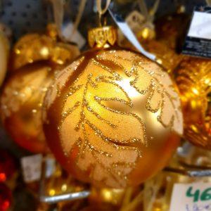 boule en verre dorée feuille pailletée
