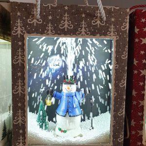 lanterne enneigée bonhomme de neige bleu